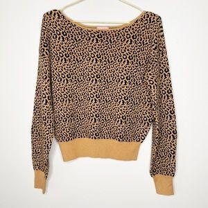 Le Rumi Cheetah Leopard Print Long Sleeve Sweater